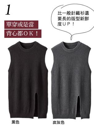 開叉造型長版無袖針織衫