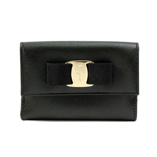 [瑕疵品] Salvatore Ferragamo 22-c328-0614785 前後扣 二折皮夾 SAFFIANO (黑色)/ 女性時