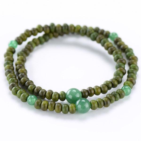 京念珠/手鏈 雙圈手鏈 綠色壇 印度翡翠