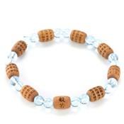Kyoto Buddhist Rosary/Bracelet Bracelet, Sandalwood Cylindrical Heart Sutra w/Blue Topaz