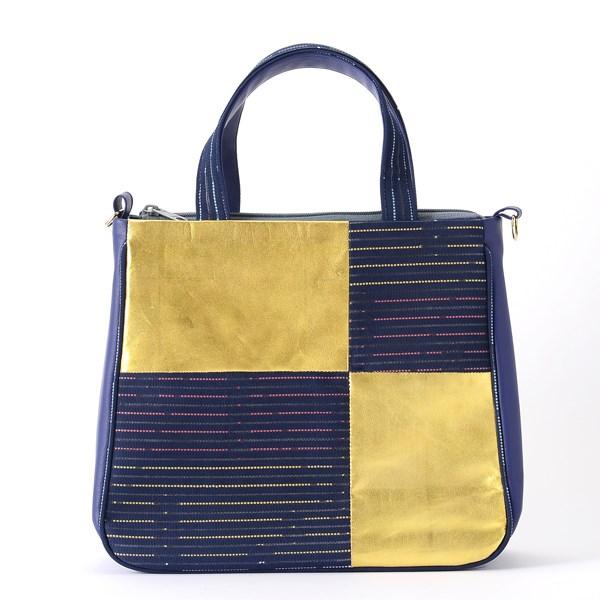 金箔革手提包 (藍色)