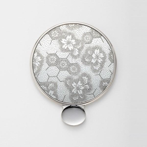金屬花紋 手拿鏡s 龜殼櫻花 銀