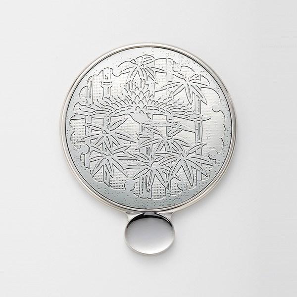 金屬花紋 手拿鏡s 竹與鶴 銀