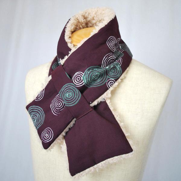 日式圍巾 水紋花樣 (紅豆色) ×米白