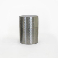 Gyokkodo Stainless Steel Tea Canister, Hammered, Matte Finish