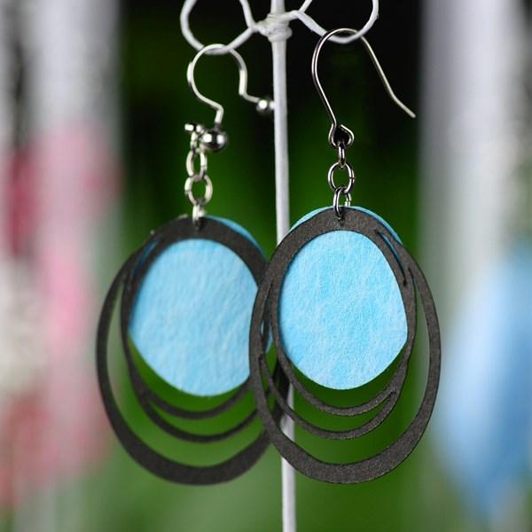 [夾式耳環 耳環] SUZU  黑&藍