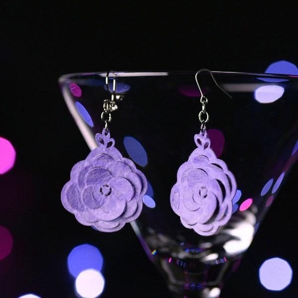 [夾式耳環 耳環] Bloom紫&白