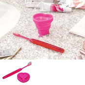 Collapsible Cup & Toothbrush Heart, B014 Deep Pink / Toiletries
