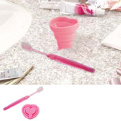 Collapsible Cup & Toothbrush Heart, B014 Light Pink / Toiletries