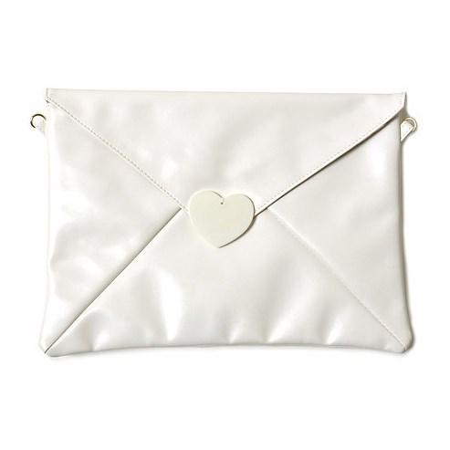 含大量少女心 想传递给你的情书造型手拿包 (白色)