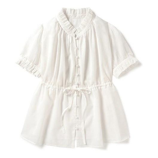 成熟风皱褶荷叶边上衣 (白色)