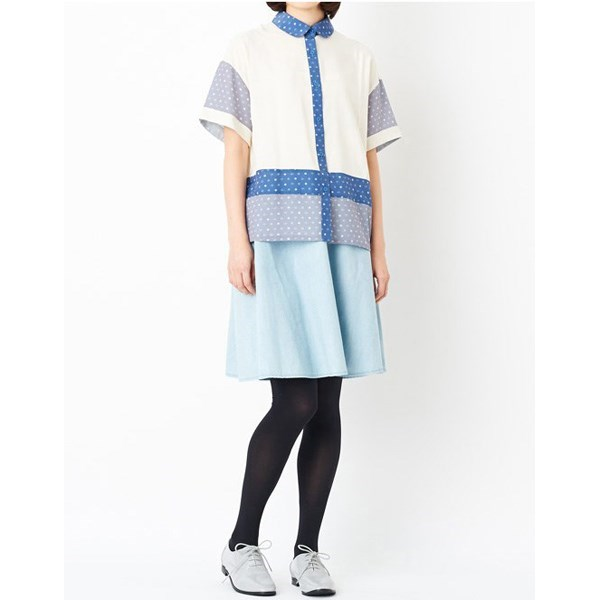 牛仔喇叭裙 (浅蓝色)