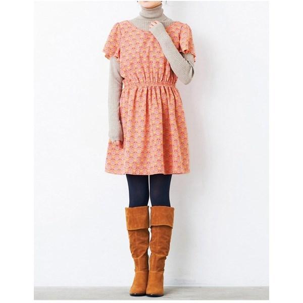 背部蝴蝶结异国风印花洋装 (粉色)