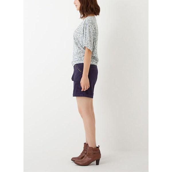 大口袋军风短裤 (紫色)
