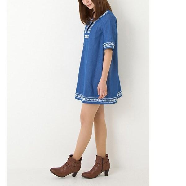 刺绣牛仔调长上衣洋装 (蓝色)