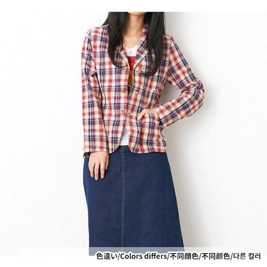格纹时尚外套 (红色 x 米色)