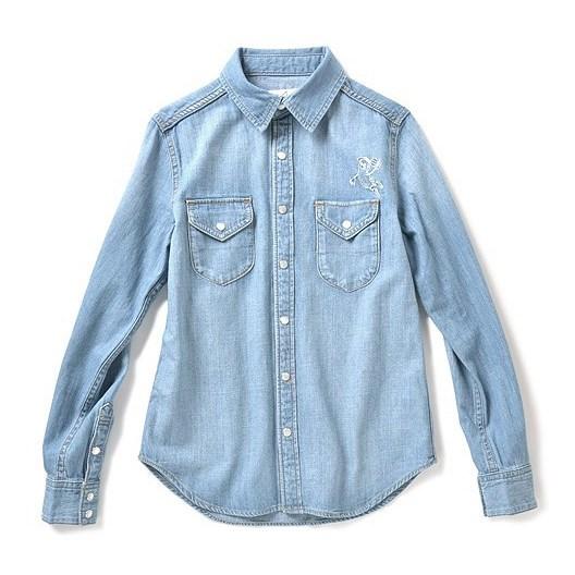 花生刺绣牛仔衬衫 (浅蓝色)
