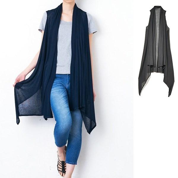混丝绸素材3-way样式围巾背心外套