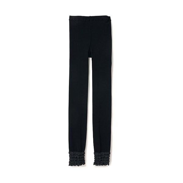 黑色美腿内搭裤 [稍长样式] (下摆褶缝)