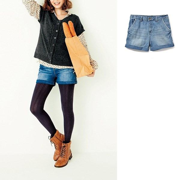 时尚牛仔短裤 (浅蓝色)