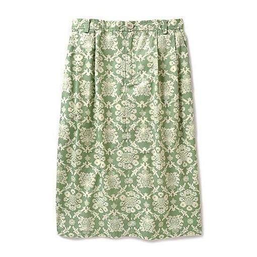 ダマスクス柄のタイトスカート (ライトグリーン)