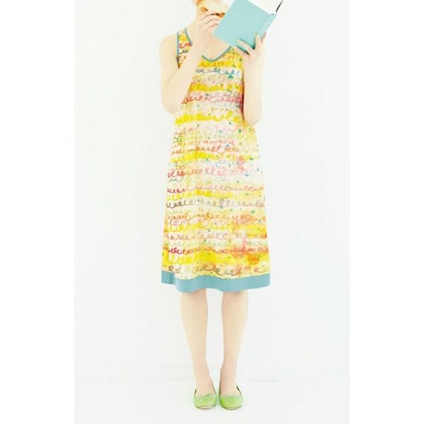雪纺纱附上衣 色彩缤纷的洋装 (白色 x 黄色 x 蓝色)