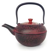 Kyoto Kiyomizu-Yaki Lid Red Ceramic Gold & Silver Unkin  x Nanbu Ironware Teapot