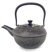 Kyoto Kiyomizu-Yaki Lid Black Ceramic Gold & Silver Unkin  x Nanbu Ironware Teapot
