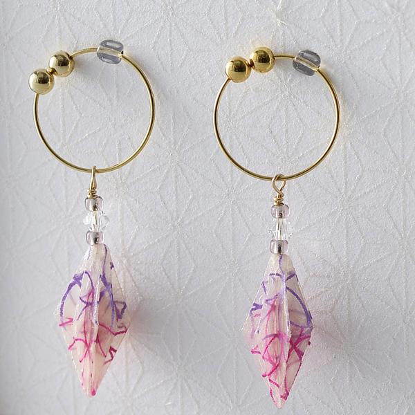 Star anise 夾式耳環 #34 七寶 (紫色 x 粉色)