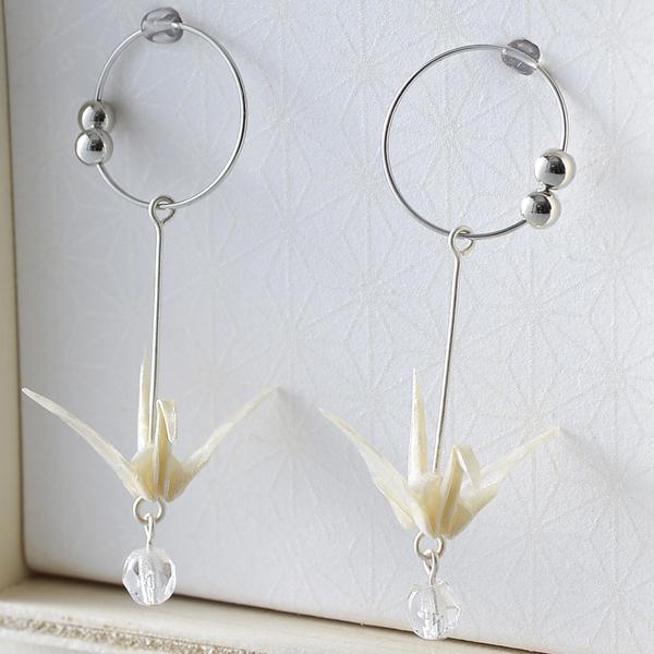 Crane 夾式耳環 #04 三角形 白色