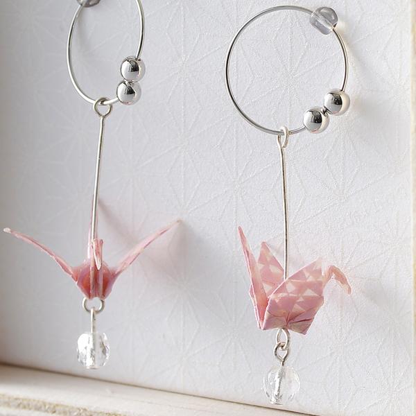 Crane 夾式耳環 #06 三角形 粉色