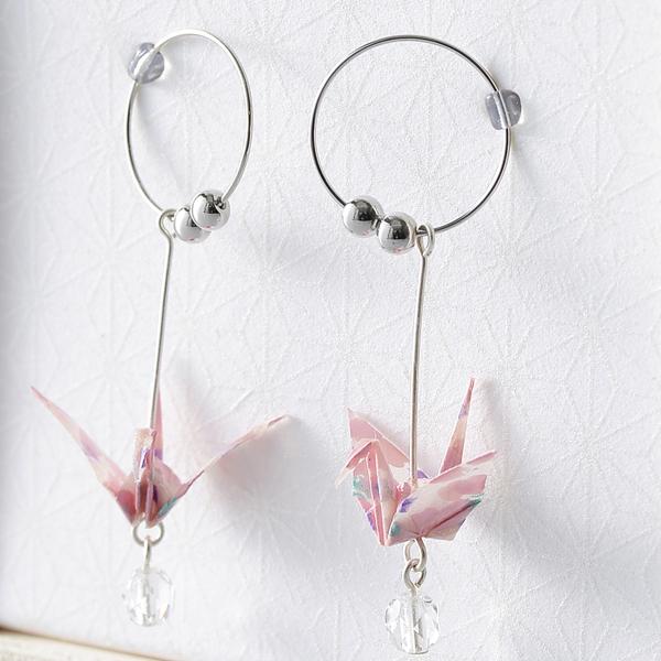Crane 夾式耳環 #08 櫻花 粉色