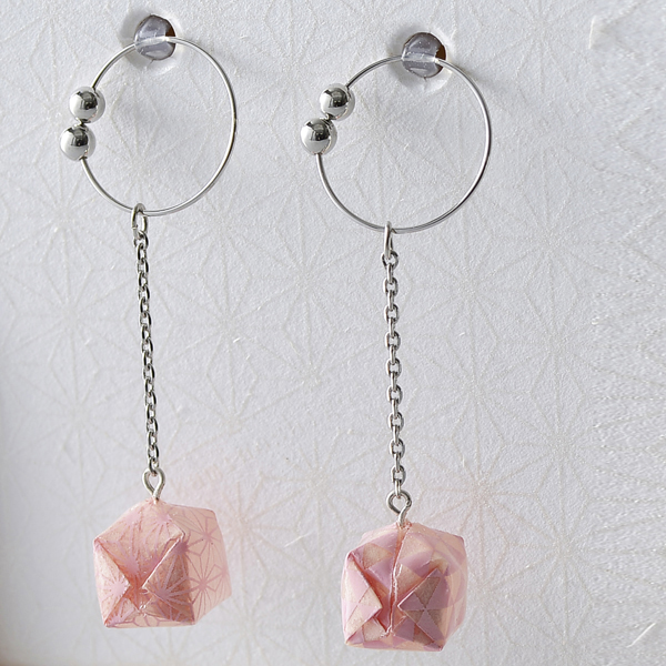 Balloon 夾式耳環 #06 和紋 粉色