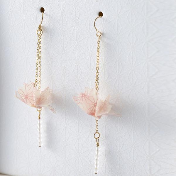 巧u之鶴 穿式耳環 #01 春 粉色