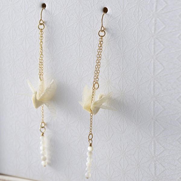 巧u之鶴 穿式耳環 #04 冬 白色