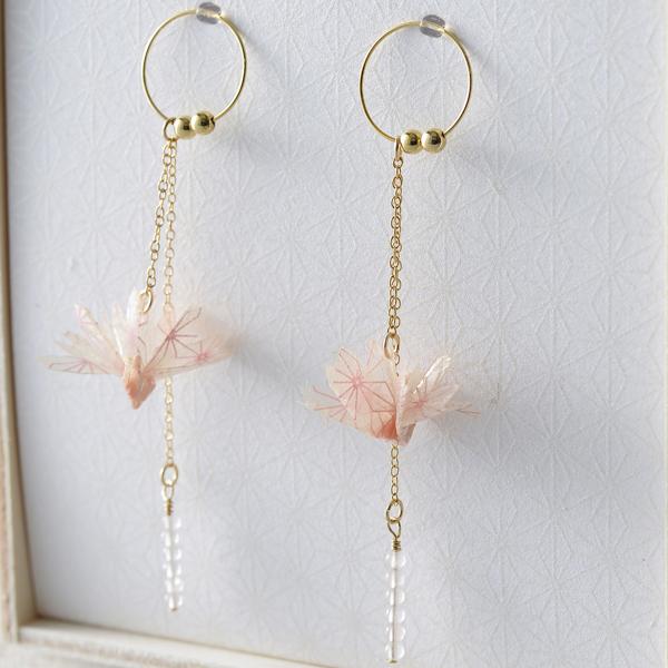 巧u之鶴 夾式耳環 #01 春 粉色