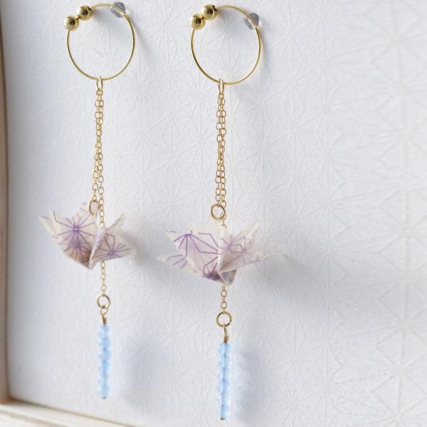 巧u之鶴 夾式耳環 #02 夏 紫色