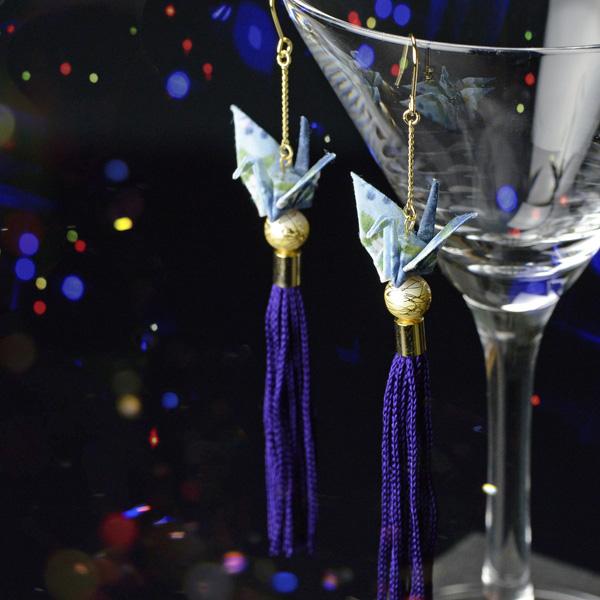 流蘇裝飾紙鶴耳環 藍色
