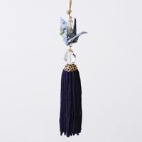 Paper Crane Tassel Washi Ornament, Blue