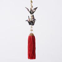 Paper Crane Tassel Washi Ornament (Crane Pair) Black