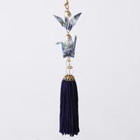 Paper Crane Tassel Washi Ornament (Crane Pair) Blue
