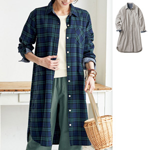 [cecile] 100% Cotton Flannel Shirt Dress / New Arrival Spring 2020, Ladies