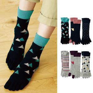[cecile] Comfortable 5-Finger Toe Socks, 3 Pairs / New Arrival Spring Summer 2020, Inner
