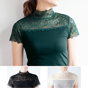 [cecile] French Sleeves Top with High Neck Lace / New Arrival Spring 2020, Inner