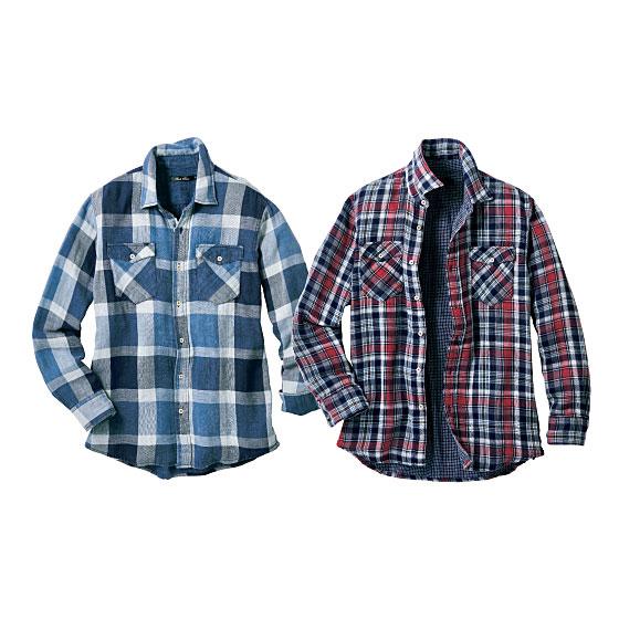 復古風雙紗布襯衫