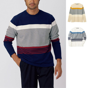[cecile] Mellow Ripple, Striped Cut & Sewn / New Arrival Spring 2020, Mens, Large Sizes