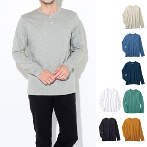 [cecile] 100% Cotton Henley Neck T-Shirt (Long Sleeve) / New Arrival Spring 2020, Mens, Large Sizes