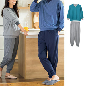 [cecile] 100% Cotton Sweat-absorbent, Quick-dry T-type Pajamas (Long Sleeves)