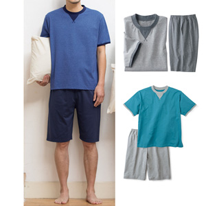 [cecile] 100% Cotton Sweat-absorbent, Quick-dry T-type Pajamas (Short Sleeves)
