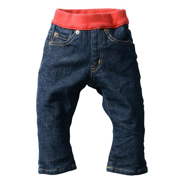 日本製 (岡山縣倉敷市兒島產) 兒童牛仔褲 藏青色/紅色 直筒款式